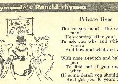 Roy Raymonde Cartoonist Raymonde's Rancid Rhymes Sunday Telegraph 12