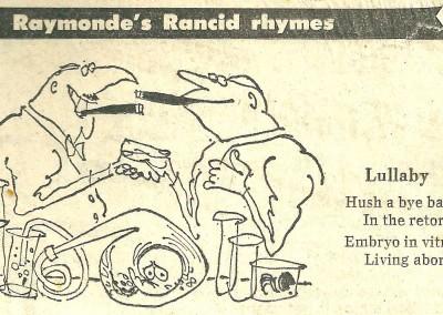 Roy Raymonde Cartoonist Raymonde's Rancid Rhymes Sunday Telegraph 22