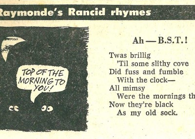 Roy Raymonde Cartoonist Raymonde's Rancid Rhymes Sunday Telegraph 29