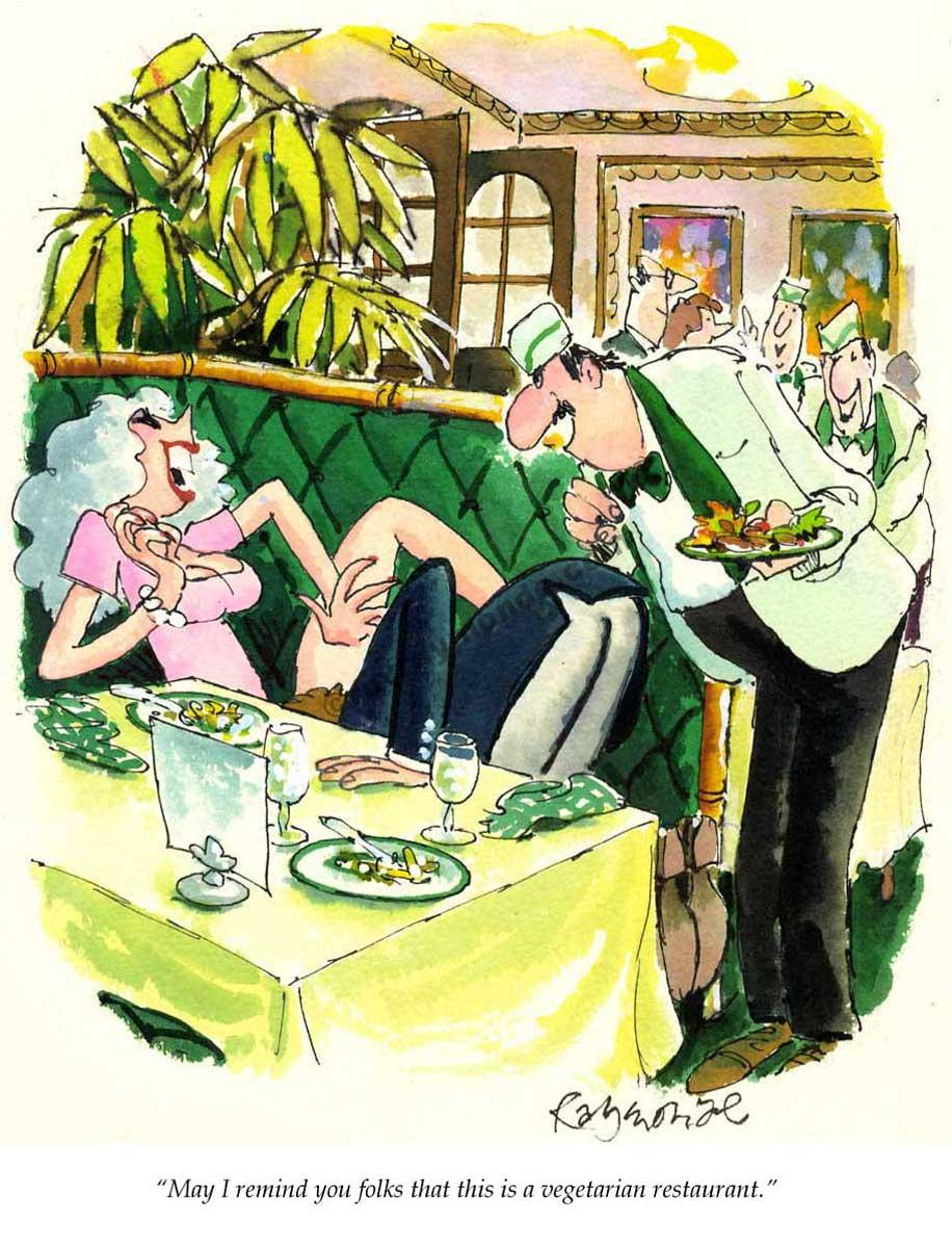 Roy Raymonde Playboy cartoon – vegetarian restaurant