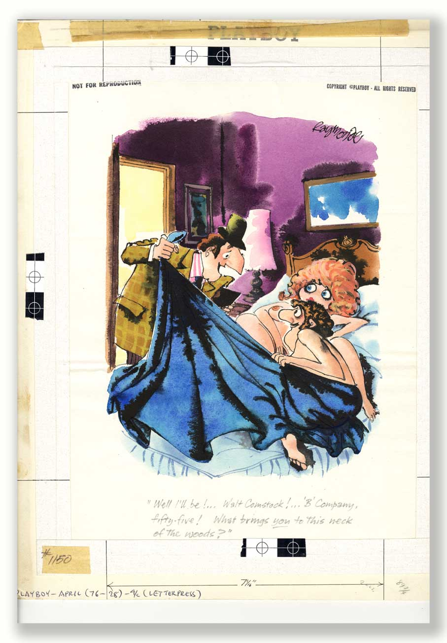 The Original Playboy signed and annotated Artwork June 1976 by cartoonist Roy Raymonde