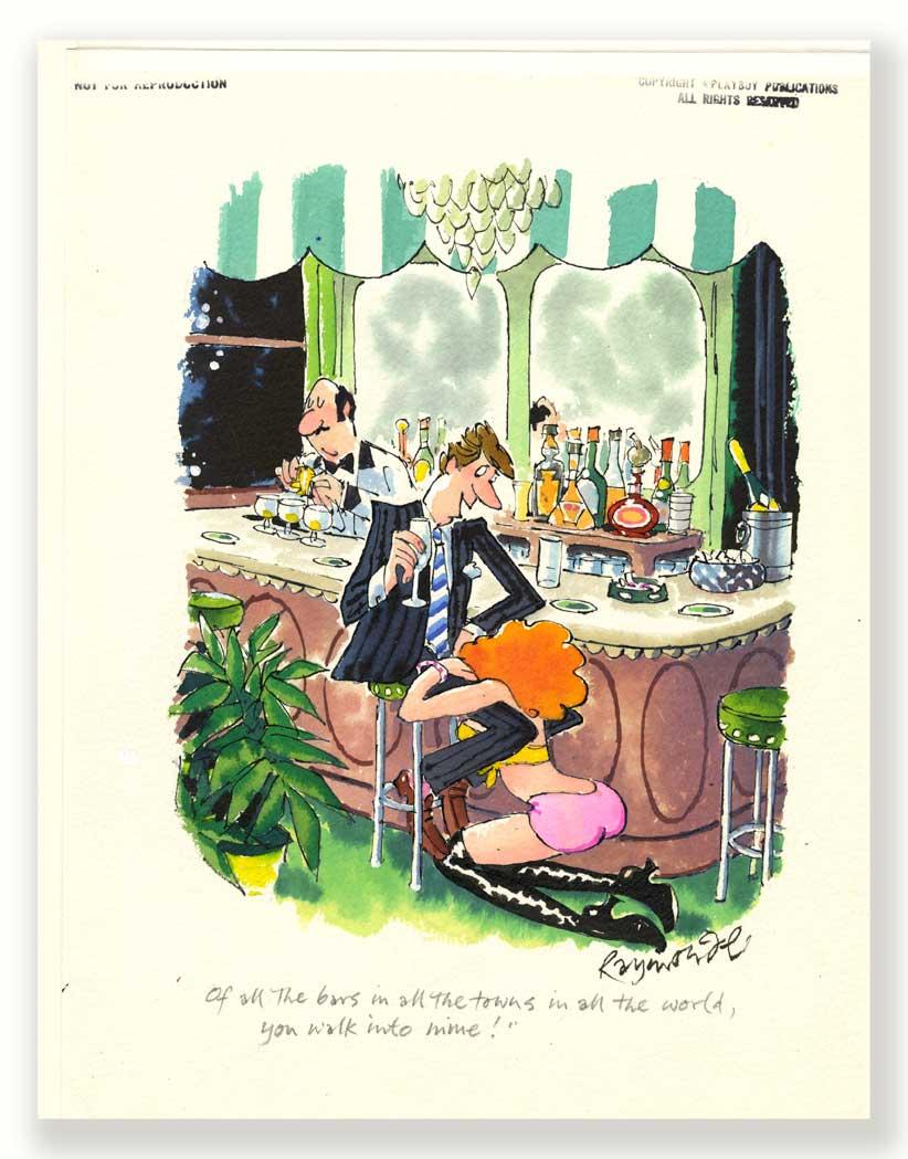 The Original signed and annotated Playboy Cartoon Artwork Sep 1999 by cartoonist Roy Raymonde
